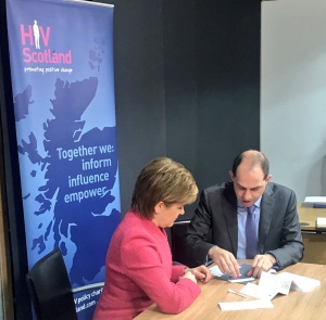 Nicola Sturgeon takes her instant HIV test